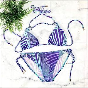 Raisins String Bikini Purple & Teal Striped Size S